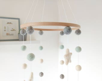 Mint Felt Ball Cot Mobile / Star Mobile /  Mint Baby Mobile / Felt Ball Mobile for Nursery / Nursery Mobile / Crib Mobile / Mint Grey Ivory