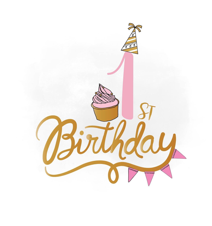 1st Birthday SVG Clipart, Baby Girl Birthday Quote