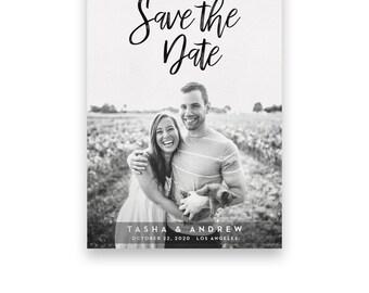 Photo Save the Date/Wedding STD/Photo Wedding Save The Dates/Save-The-Date/Black and White/Calligraphy/Classic/Bold