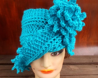 Turquoise Cloche Hat, Womens Crochet Hat, Turquoise Womens Hat 1920s, Blue Hat, Turquoise Hat, Lauren 1920s Cloche Hat, Crochet Flower