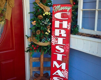 Wooden Sign - Merry Christmas - Vertical - Southern - Rustic - Pallet - Porch Decor - Snowflake