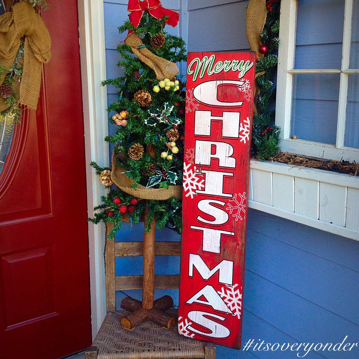 Wooden Sign Merry Christmas Vertical Southern Rustic