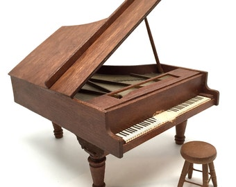 Dollhouse Piano, Wood with Stool, Grand Piano, Miniature, Furniture,Vintage, 1970's, 1:12 Scale