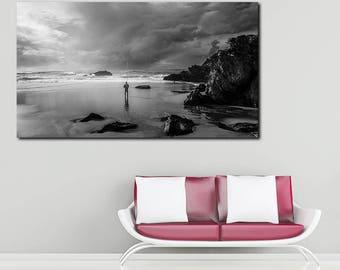 Praia da Adraga, Solitary Fisherman,  Portugal, Big and Unique Landscape Canvas Print / Wall Art