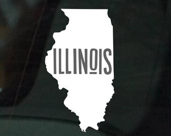 Home State Collection: The State of Illinois Car Decal Bumper Sticker Laptop Sticker {FREE SHIPPING}