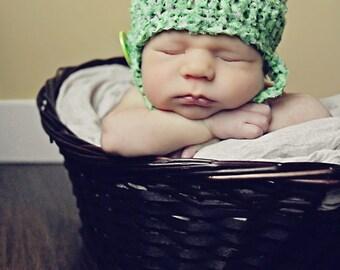 "Newborn CROCHET HAT PATTERN: ""Lil' Sprout"" Crocheted Bucket Hat, Newborn Crochet, Crochet Photo Prop"