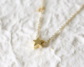 Wishing star necklace, gold star necklace, star necklace
