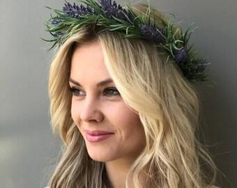 Purple flower crown wedding lavender crown wedding crown flower hair wreath Bridal halo wedding flower crown bridal headband flower halo