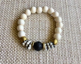 Black and White Stretch Bracelet with Lava Rock Focal Bead