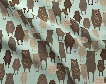 Bears On Blue Fabric - We Are All Wild Animals At Heart Blue By Katherine Quinn- Bear Family Blue Cotton Fabric By The Yard With Spoonflower