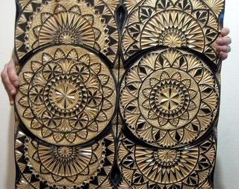 Backgammon wooden. Large. Handmade. Black geometry -1.