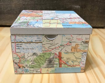 Road Map Collage Trinket Box