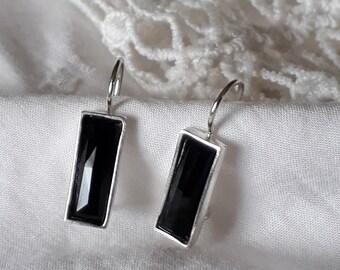 Black rectangle earrings, silver black onyx earrings, Black Onyx Silver Earrings, Black Onyx Drop Earring, Rectangle Black Stone Earring