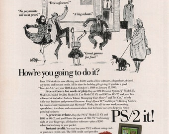 1989 IBM PS/2 Personal System/2 Computer Kyboard Monitor Vintage Print Ad