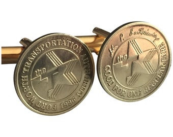 Fort Worth FWTA Vintage Transit Token Cufflinks Free Gift Box and Free Shipping