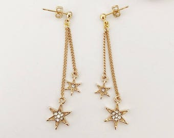 Star charm threaded earrings / Gift / Birthday gift