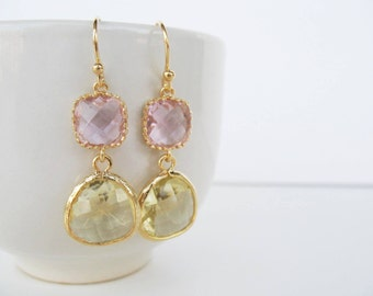 Pink and citrine earrings Clear pink and lemon glass earrings Jonquil earrings, pink bridesmaids, gold pink earrings, pink gemstone earrings