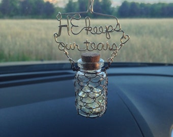 Hanging Convertible Decoration: Car Mirror Charm, Suncatcher, Vase accent, etc. Scented w/Essential Oils; Wire Writing, Crystals, Faith