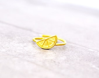Lemon Ring / Lime Ring / Fruit Ring / Gift for Women / Cute Rings / Fun Rings / Best Friend Gift /  Everyday Ring / Mid Finger Ring