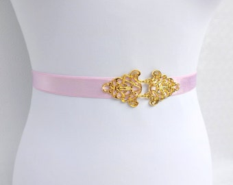 Light Pink Elastic Waist Belt. Gold Filigree buckle. Bridal/ Bridesmaid Baby pink Blush pink Wedding belt.