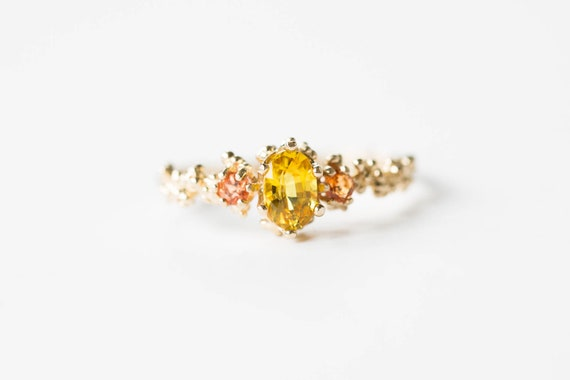 Yellow sapphire 14k gold barnacle engagement ring, sunset oval engagement ring, padparadscha sapphire engagement ring, nature engagement