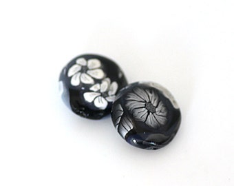Black and White Rose Beads, Polymer Clay Lentil Pair with Flowers, 2 Pieces