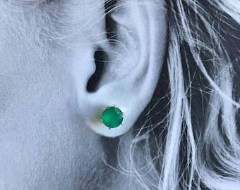 MothersDaySale Green Onyx 8mm 3ctw Sterling Silver Studs