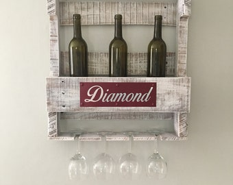 Personalized White Wash Wine Rack | Pallet Wine Rack | Pallet Wine Bar