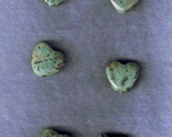 4 Green Jasper Heart beads
