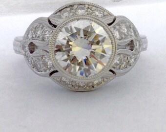 Art Deco Platinum Diamond Engagement Ring - Platinum Art Deco Diamond Wedding Ring - Diamond Hand Engraved Platinum Ring - Diamond Ring