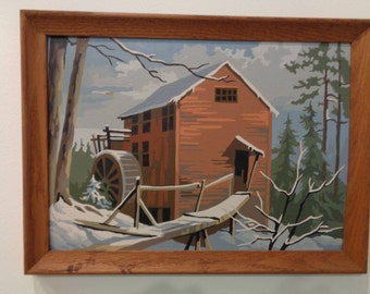 Vintage Paint by Number Painting Winter Scene of a Mill with Waterwheel