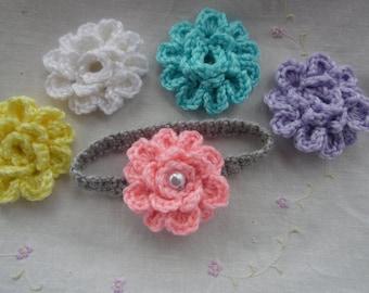 Baby Headband With Five Interchangable Flowers, Infant Headband, baby gift, Handmade crochet baby headband with flowers, Baby present.