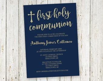 Navy Gold Glitter Communion Invitation  - Printable First Communion Invitation - Boys First Communion by Printable Studio