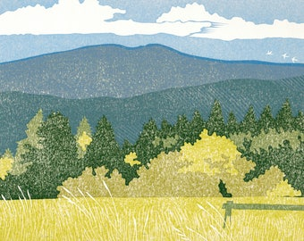 Yamhill Valley 8 color reduction linocut
