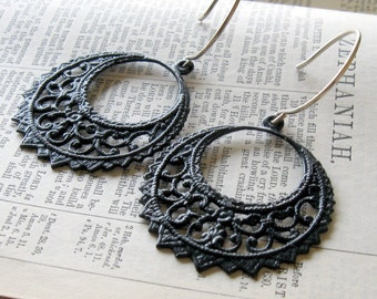 Lace Jewelry, Black Lace, Black Metal Medallions on Sterling Silver Earrings