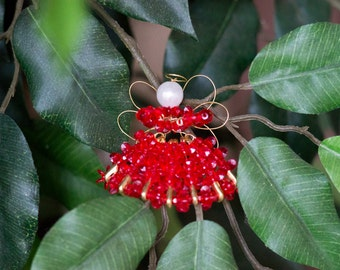 Christmas Beaded Angel Ornament (Red)