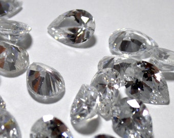 5 Crystal Cubic Zirconia Pear Shaped Crystals - 10 x 7 mm