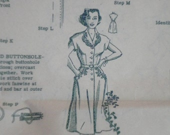 Vintage 50's Mail Order Design 704 Sewing Pattern, Misses' Step In Dress With Embroidery, Size 16 1/2, Uncut FF