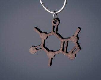Small Caffeine Molecule Necklace pendant
