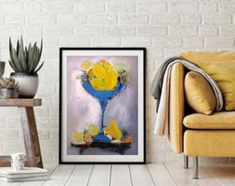 Lemons and Limes in trendy cobalt blue fruit bowl, art print from original oil on canvas painting, contemporary still life modern kitchen