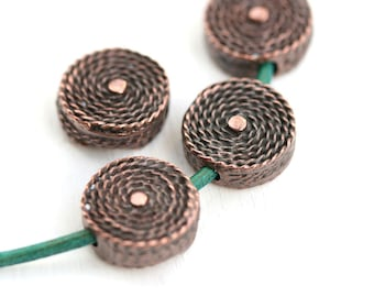 Antique Copper woven beads 15mm Coin metal beads Round copper tablet shape lentils 2mm hole Greek metal casting - 2Pc - F521