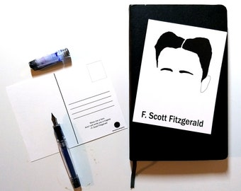F. Scott Fitzgerald, postcard, The Great Gatsby, 20s,  blank card, writers, poets, quotes, unique gift, literature, minimalist, drawing