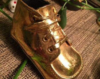Vintage Bronzed Baby Shoe (Gold)