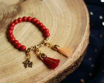 Vibrant Red Knitting Notion Bracelet with Golden Sheep and Tassel Stitch Markers