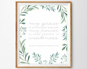 Watercolor Greens Scripture Print - My Grace is Sufficient for You (2 Corinthians 12:9)