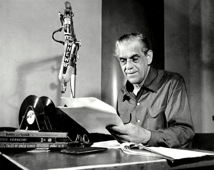 Boris Karloff On-Air for His Weekly Radio Show on WNEW Radio in New York City - 5X7 or 8X10 Photo (BB-444)