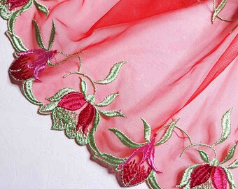 1.93 m pretty red embroidery tulle lace floral double scalloped width 18 cm