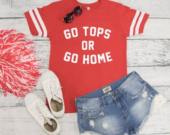 Go Tops Or Go Home Varsity Graphic Tee..Gameday Tee..Printed Tailgating Tee..Red Game Day Tee..WKU Gameday..Western Kentucky University