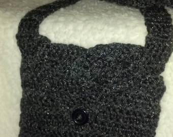 Crocheted Charcoal Gray Purse with Flower Motif
