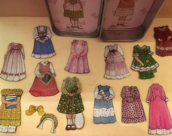 Altoids tin, paper dolls, magnetic clothes, six outfits each